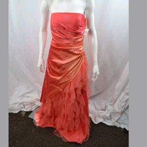Strapless Prom Formal Dress 7/8 Sparkle Coral